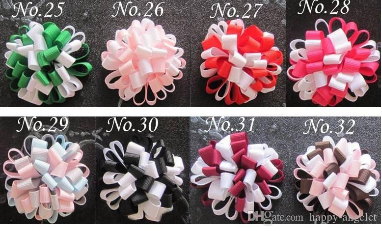Baby loop bows clips ponytail hållare hår tillbehör flicka band boutique xmas hår bågar klipp blomma slipsar huvudband huvudbonader hd3236