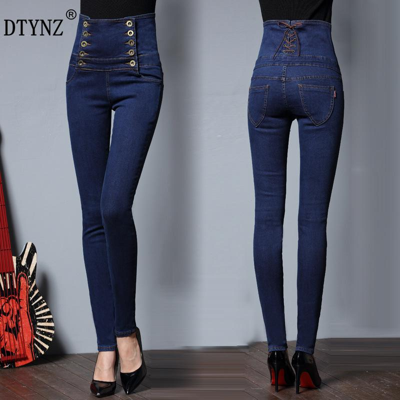 78348258afc 2019 DTYNZ New Double Row Button High Waist Women S Denim Trousers Jeans  Micro Elastic Force Slim Waist Pencil Pants Plus Size S 6XL From Sadlyric