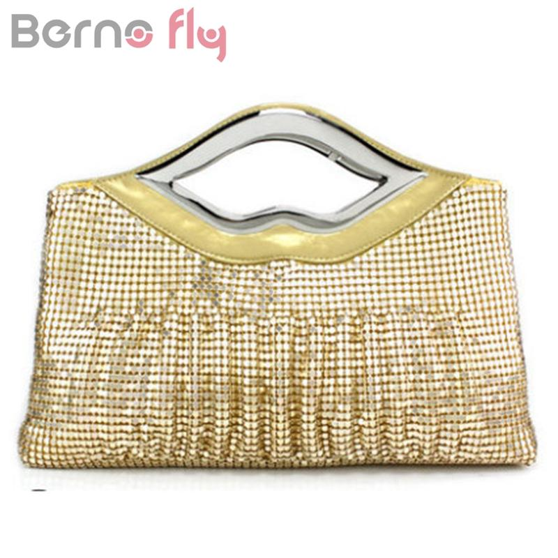 Berno Fly Fashion Women's Handbag Lips Shape Handle Ladies Clutch Bags Sequined Evening Bag Party Clutches Red/Black 5 colors