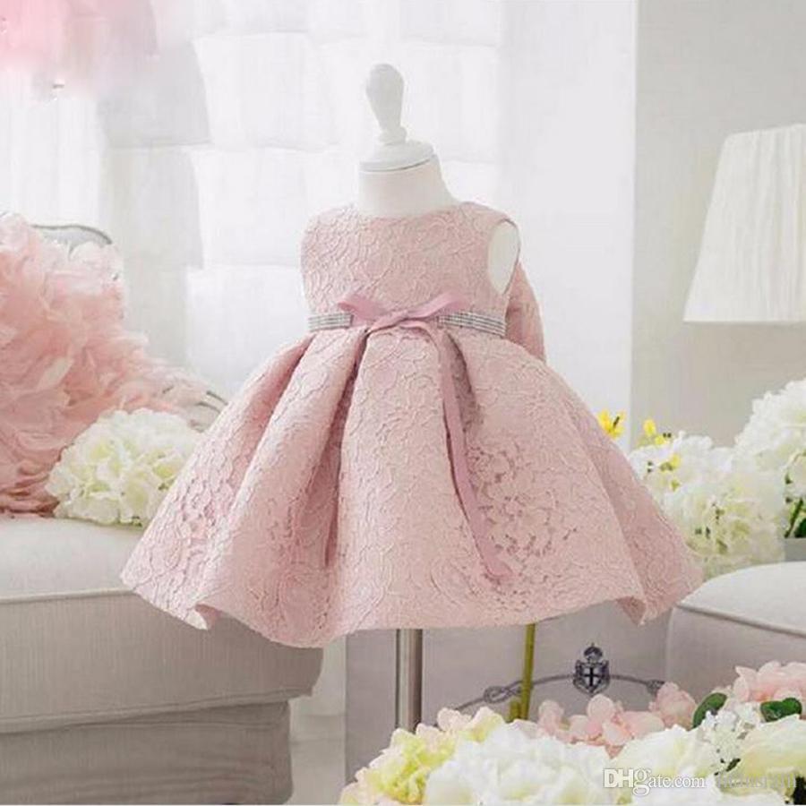 Compre Vestidos De Fiesta De Cumpleaños Para Bebés Y Niñas Bebés Bautizo  Bautizo Vestido De Pascua Princesa Del Niño Vestido De Encaje De Flores Para  0 2 ... 7838e1187eb6