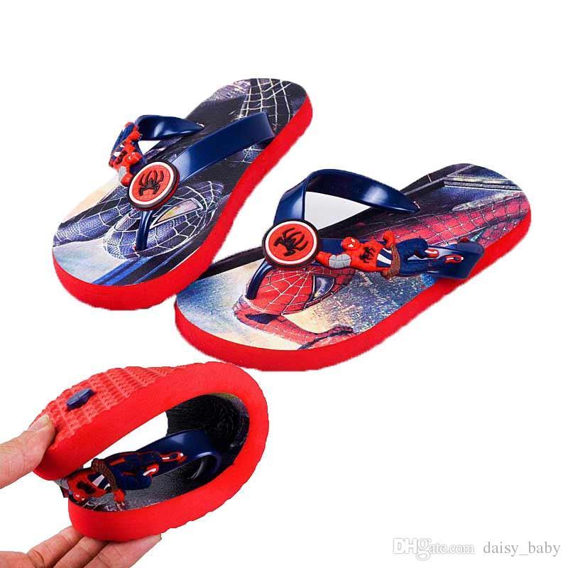 b9ea2e0286c Big Size 2018 Summer Children Slippers Boy Indoor Antiskid Sandals Soft And  Comfortable Girls Spider Man Beach Flip Flops Shoe  10 Toddler Duck Slippers  ...
