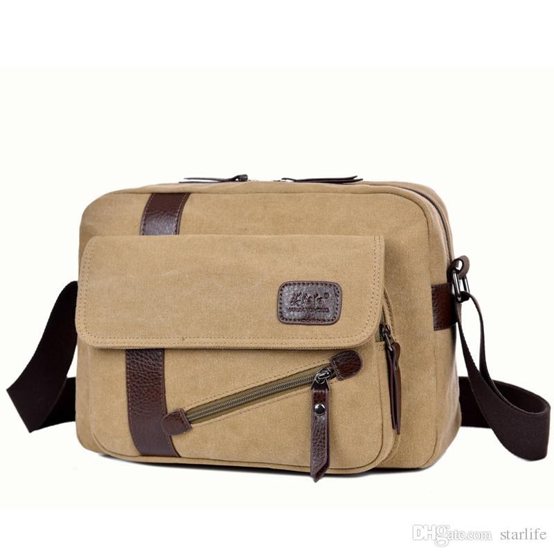 Canvas Shoulder Bag Men's Fashion Business Travel Shoulder Bags Men Messenger Bags Canvas Briefcase Men Bag