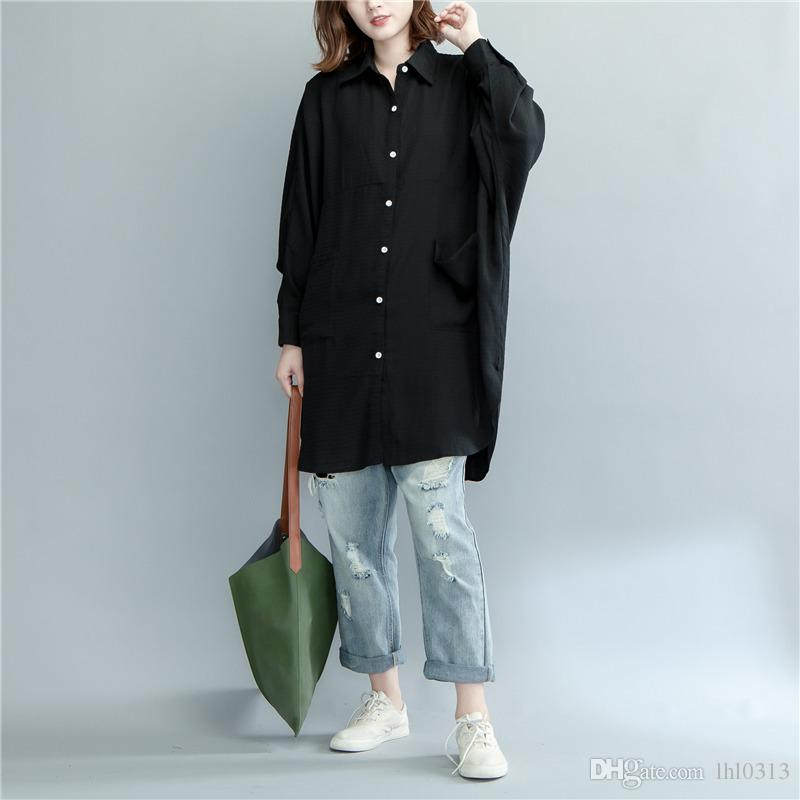 In the spring of 2018 new pure color big yards dress shirt Han edition of cotton long sleeve shirt long money