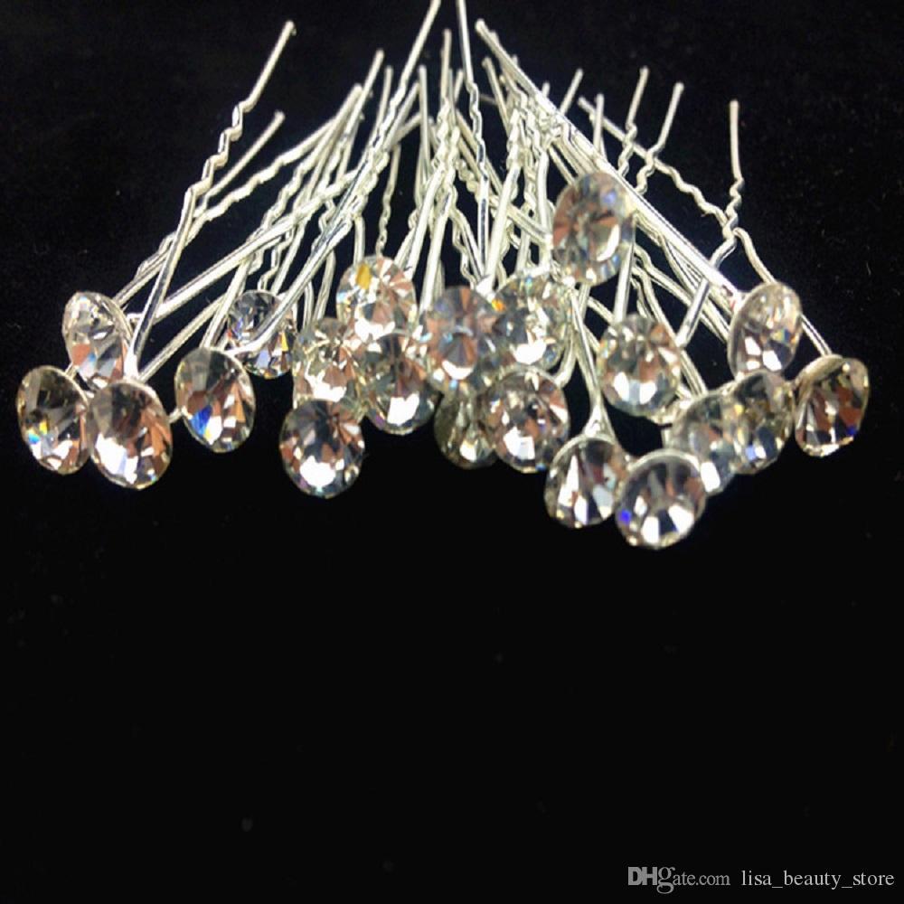 20 unids / lote Rhinestone Horquillas para el cabello Accesorios de la joyería de la boda Pelo nupcial Tenedor Hairpieces para mujeres