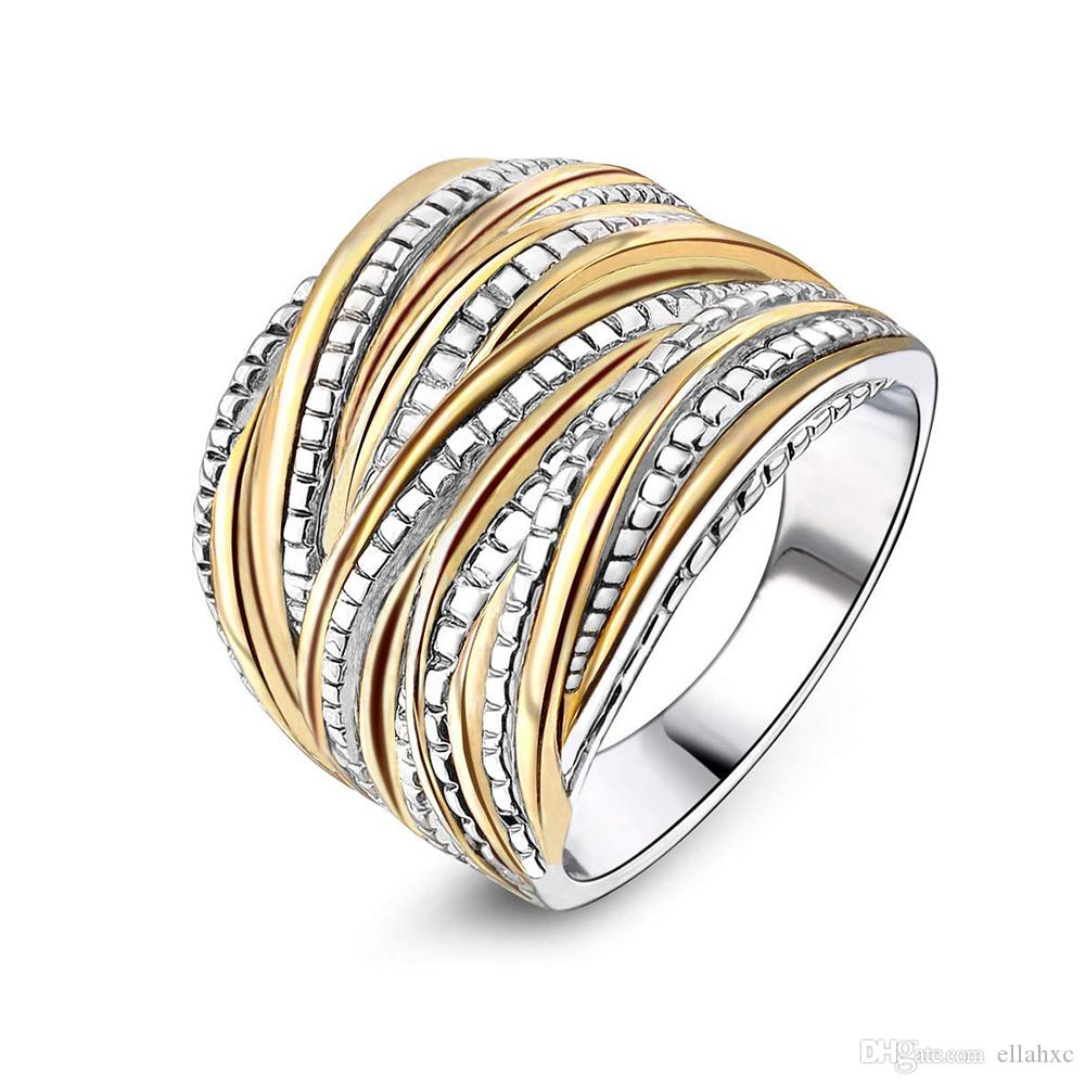 Stainless Steel Intertwined Crossover Statement Ring Wedding Bands