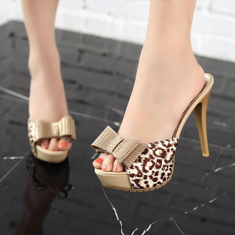 722b8f567af14 2017 New Leopard Print Bow Ultra Thin Heels High Heels Slippers Open Toe  Sexy Rhinestone Women S Shoes Women Shoes Red Boots Pink Shoes From  Ajkobeshoes