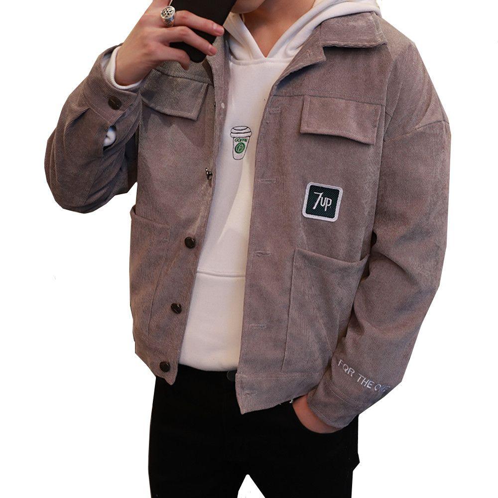 Korean Fashion Jacket Coat Man Corduroy Turn Down Collar Pockets