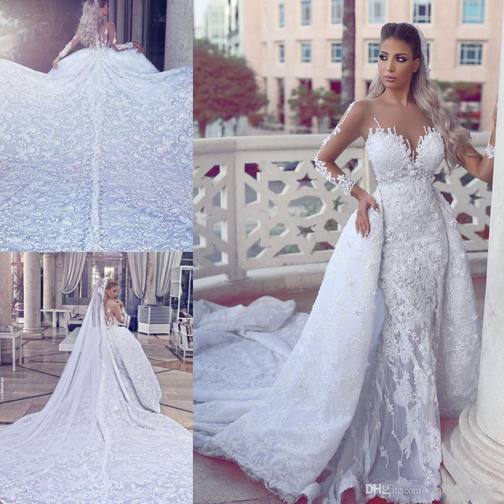 fccc5050c2e 2018 Said Mhamad Luxury Lace Wedding Dresses Long Sleeves Sheer Appliques  Illusion Back Mermaid Bridal Gowns With Removable Skirts BA7887 Elegant  Wedding ...