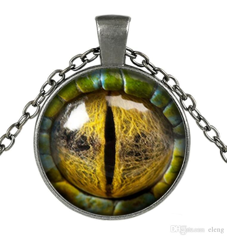 Üç boyutlu ejderha göz Kolye Kolye renkli göz kolye Cam Cabochon Kubbe Kolye takı Bestselling Yeni 500