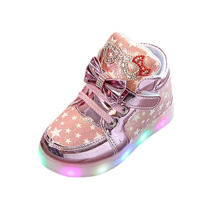 9e301f3021f4e Acheter Enfant En Bas Âge Bébé Mode Baskets Étoiles Lumineux Enfant  Occasionnels Lumière Colorée Chaussures Grand Cadeau Pour Bébé   50 De   36.25 Du Humom ...