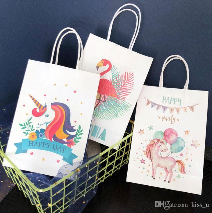 508b3073f Compre Bolsas De Regalo De Papel De Unicornio Bolsa De Dulces De Dibujos  Animados Para Fiesta De Unicornio Baby Shower Cumpleaños Caja De Dulces  Suministros ...
