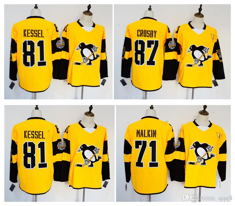 reputable site 64ef4 0b777 2017 Stadium Series Pittsburgh Penguins Jersey 87 Sidney Crosby 71 Evgeni  Malkin 81 Phil Kessel Yellow Stitched Hockey Jerseys