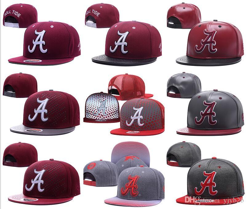 934684e1a6f Wholesale Men S Alabama Crimson Tide NCAA Snapback Hats In Gray Color USA  College Letter A Logo Burgundy Red Adjustable Caps 59fifty Snapback Cap  From ...