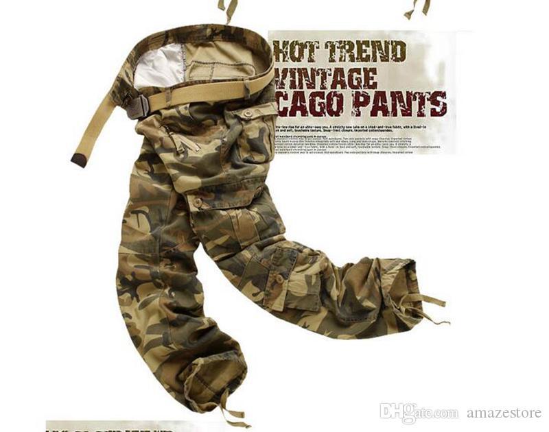Formazione casual Plus Size Cotton Traspirante Multi Pocket Military Army Camouflage Pantaloni Cargo Moda All'aperto Pantaloni da uomo Senza cintura
