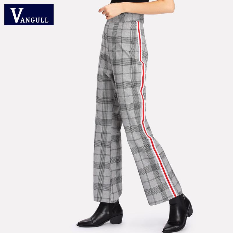 bac0e873a60 2019 Vangull Plaid Pants 2018 New High Waist Long Straight Trousers Woman  Clothes Women Elegant Office Ladies Loose Work Pants From Lichee666, ...