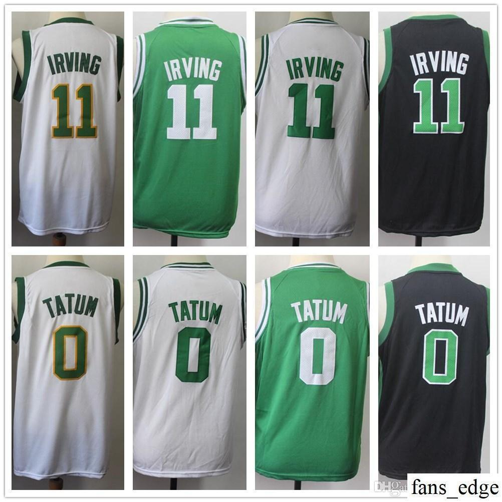 promo code d8de9 34220 Kids Youth Mens 11 Kyrie Irving Basketball Jerseys 2019 New City Edition  White Gold Green Black 0 Jayson Tatum Jersey Stitched Boys Girls