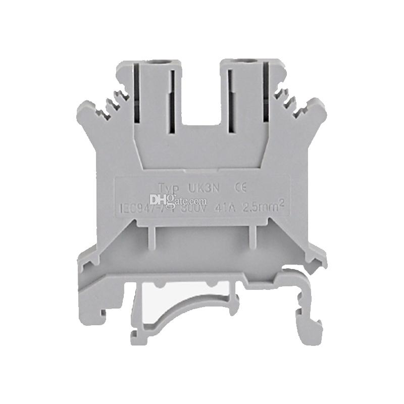 Feed-Through Terminal Block Combined Type 24-12 AWG 24 A 800 V UK-3N Grey Gray wire connector