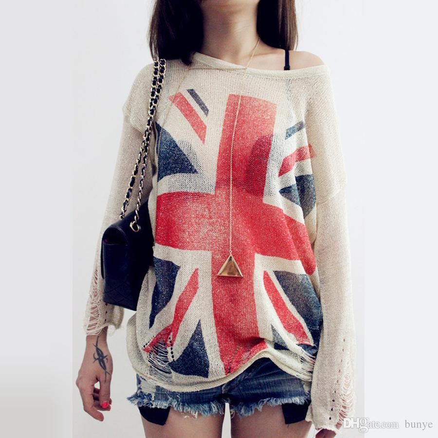 e97226223c 2019 Wholesale Fashion~ Women S Distressed British UK Flag Print Ripped  Hole Knit Sweaters Oversized Knitwear Jumper Tops Knitted Pullover From  Bunye