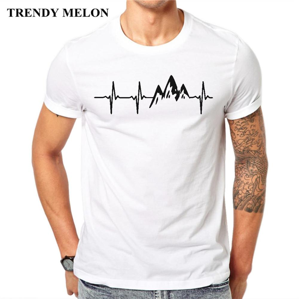 ef1f8286 Trendy Melon New Arrival 2018 Fashion Men T Shirt Mountain Heartbeat T Shirt  Short Sleeve Casual Tops Summer Tee MAA30 Funny T Shirts For Sale Awesome T  ...