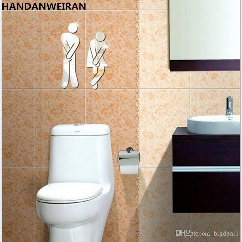 3d diy acrylic mirror wall stickers toilet toilet bar stools men