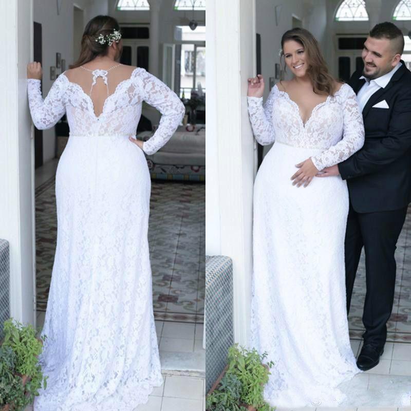 Cheap Plus Size Wedding Dresses Deep V Neck Sheath Vintage Long Sleeves Wedding Dresses Bridal Gowns Sweep Train Spring Summer Wear Gown