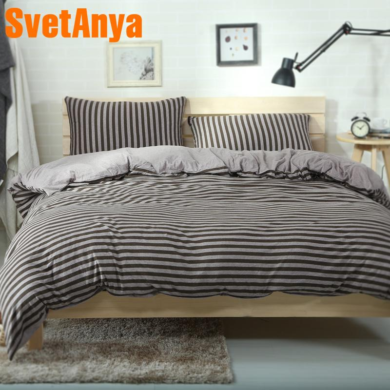 Svetanya super Soft Knitted Cotton Bed Linens Coffee Stripe Pattern Home Bedding Sets Fitted or Flat Bedsheet Duvet Cover Sets