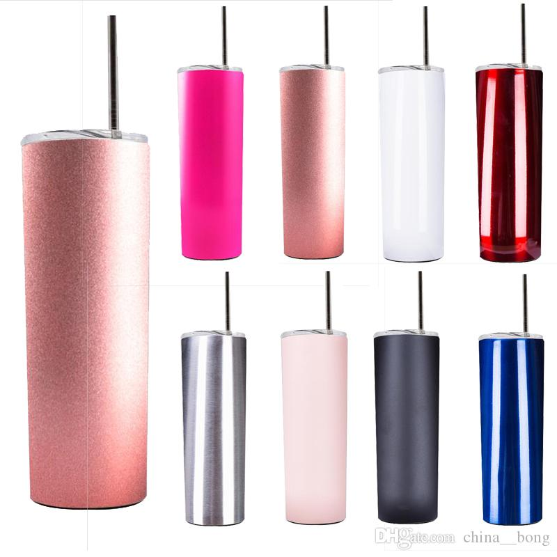 20oz Skinny Stainless Steel Tumbler Straight Cup double wall water bottle  Insulated coffee Mug Flask thermos rose gold with straws DHL FREE