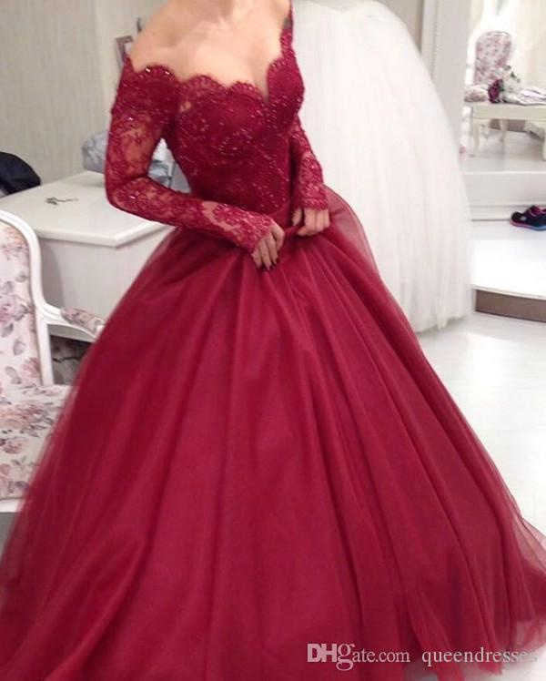 Modern Burgundy A Line Wedding Dresses Lace Long Sleeve V Neck Sweep Train Formal Wedding Gowns Bridal Dresses Custom Made Brautkleider