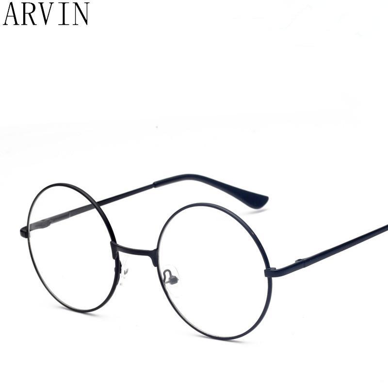 2d7da447e60a6 Compre New Clássico Do Vintage Óculos De Armação Redonda Lente Plana Miopia  Espelho Óptico Simples De Metal Mulheres   Homens Óculos De Armação De ...