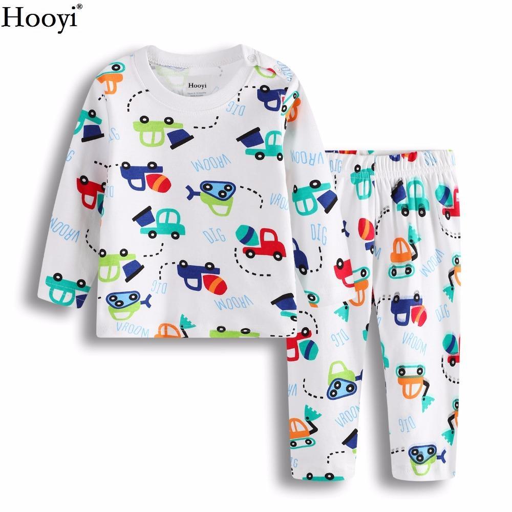 d04888536a Hooyi Baby Boys Clothes Suit 100% Cotton Boys Pajamas Newborn Sleepwear Dig  Vehicle Kids Sleep Sets Long Nightgown PJ S Soft Little Girls Christmas  Pajamas ...