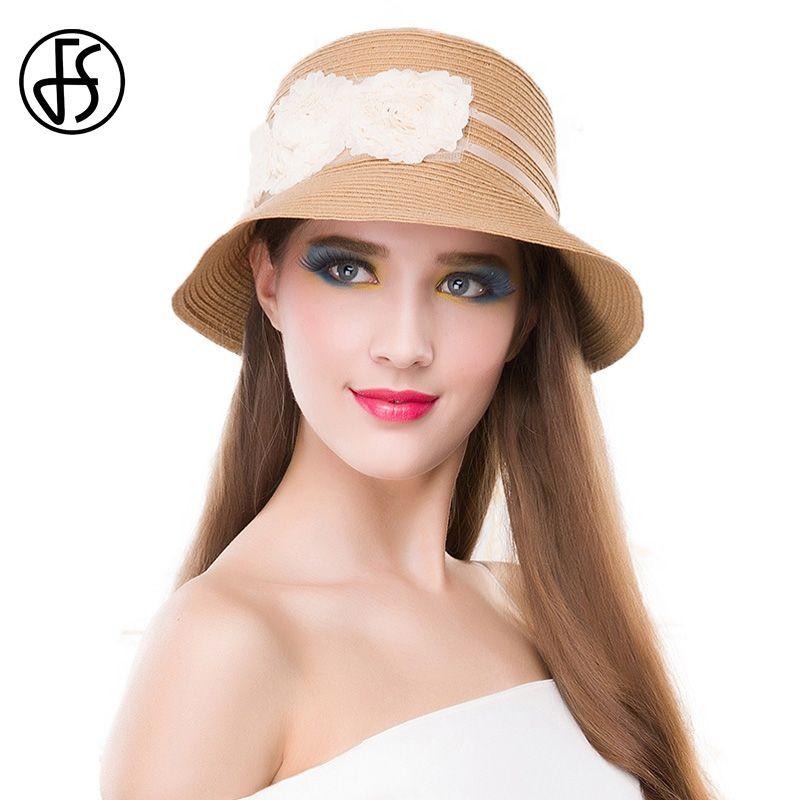 82966f6070d FS Short Brim Sun Visors For Women Hat Elegant Summer Ladies White Flowers  Straw Hats Beach Travel Chapeau Femme De Soleil Panama Hat Trilby From  Alley66