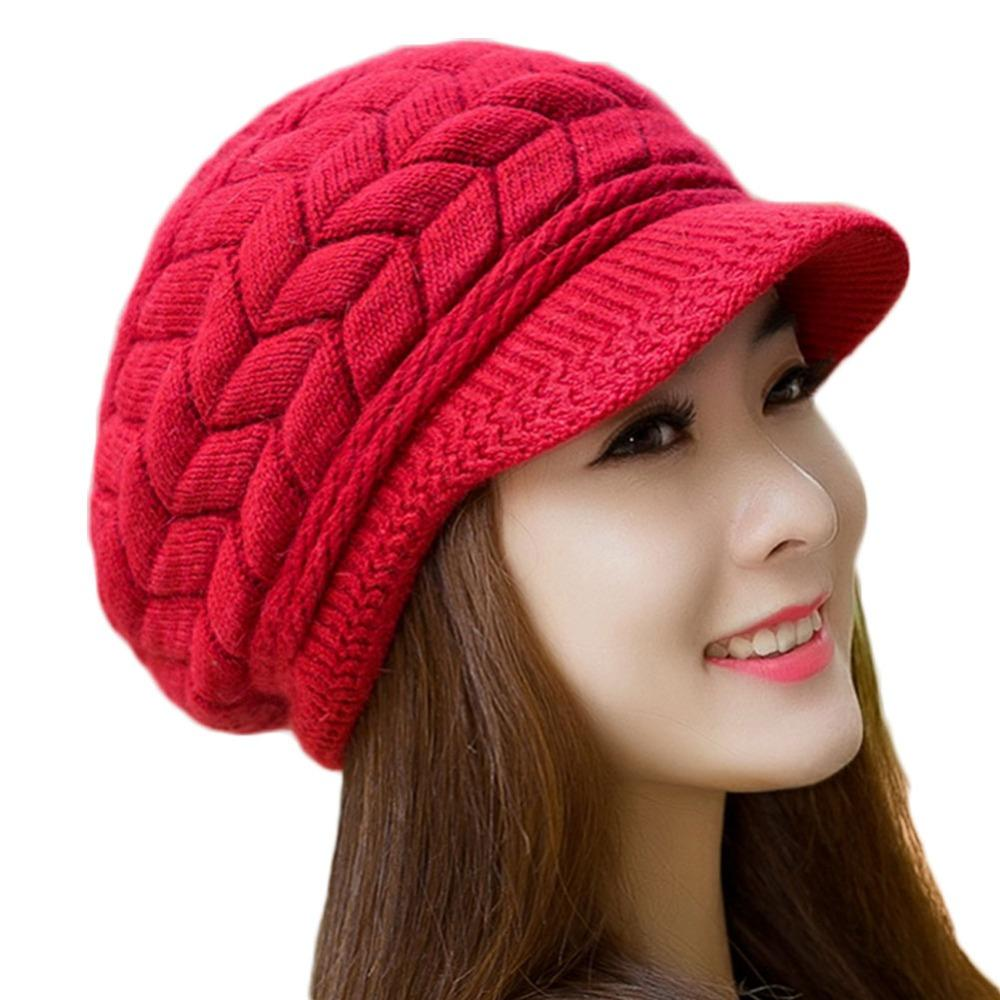 Hot Sale Women Winter Hats Elegant Solid Knitted Crochet Rabbit Fur Beanie  Cap Casual Women Ladies Female Winter Warm Bonnet Mens Hats Straw Hat From  ... 71365a324a7d