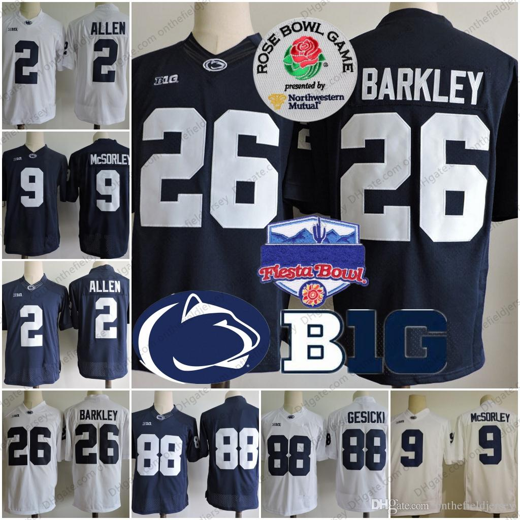 d61c3f43e 2019 Penn State Nittany Lions  26 Saquon Barkley 2 Marcus Allen 88 Mike  Gesicki 9 Trace McSorley Fiesta Rose Bowl NCAA College Football Jerseys From  ...