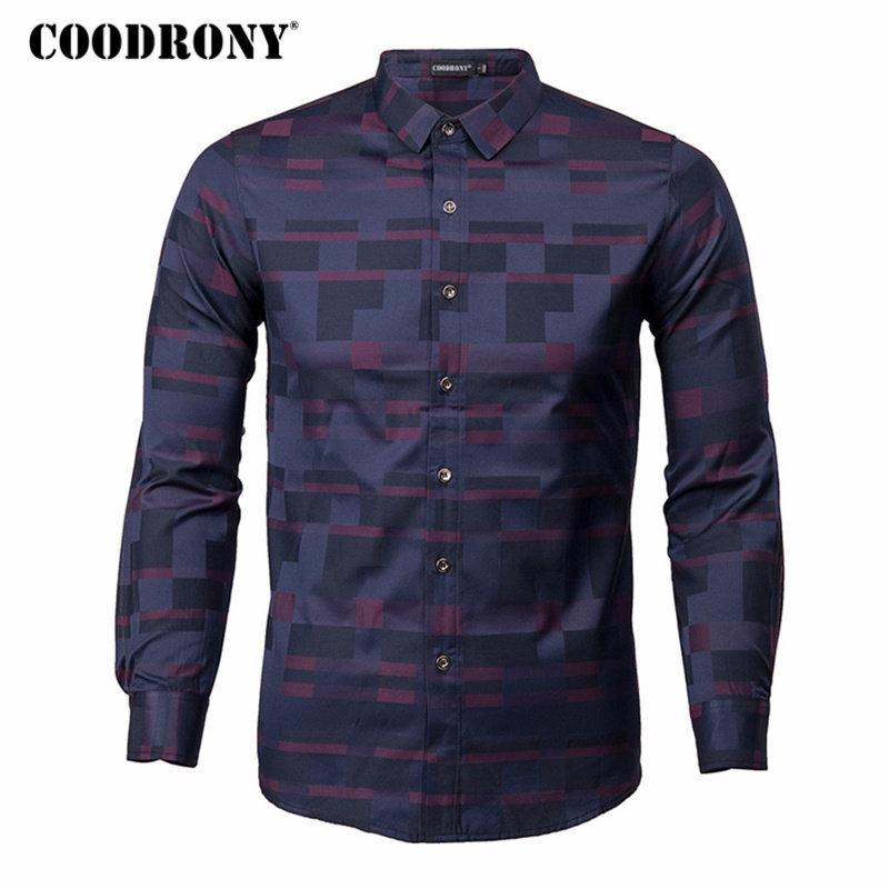 8f310908457 2019 COODRONY Men Shirt Mens Business Casual Shirts 2018 New Arrival Men  Famous Brand Clothing Plaid Long Sleeve Camisa Masculina 712Y1882203 From  ...