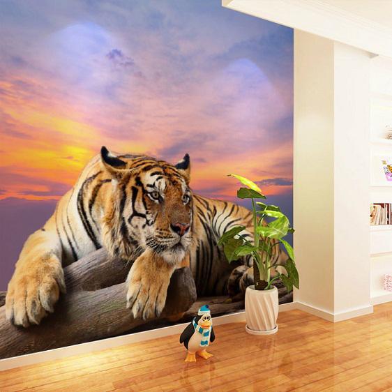 Bacaz 8d Large Tiger Mural 3d Wallpaper Animal Mural 3d Wall Tiger
