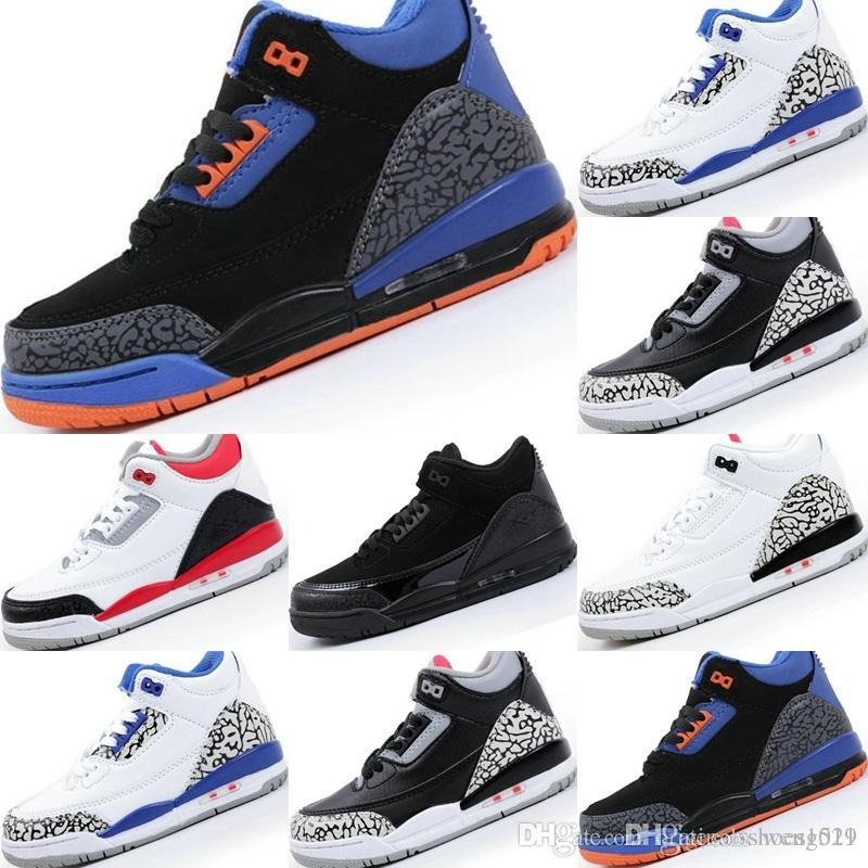 bf80d6116640 2018 New 3s Toro True Blue Cyber Monday Black Cement White Cement Kids  Basketball Shoes Black Cement White 3s Children Trainers Sneakers Kids  Running Shoes ...
