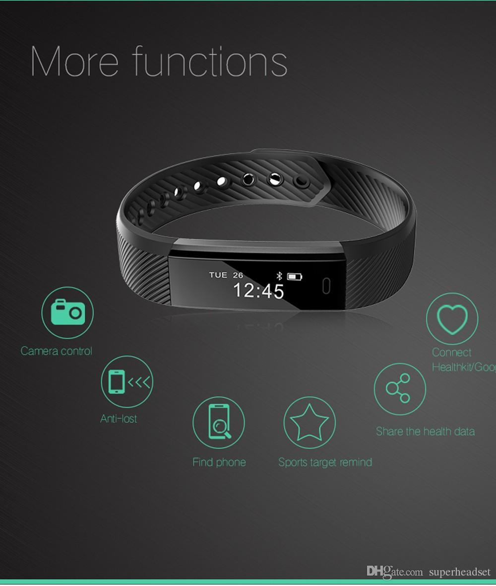 оригинальный ID115 смарт-браслет Фитнес-трекер шаг счетчик активности монитор группа будильник вибрации браслет для iphone Android телефон