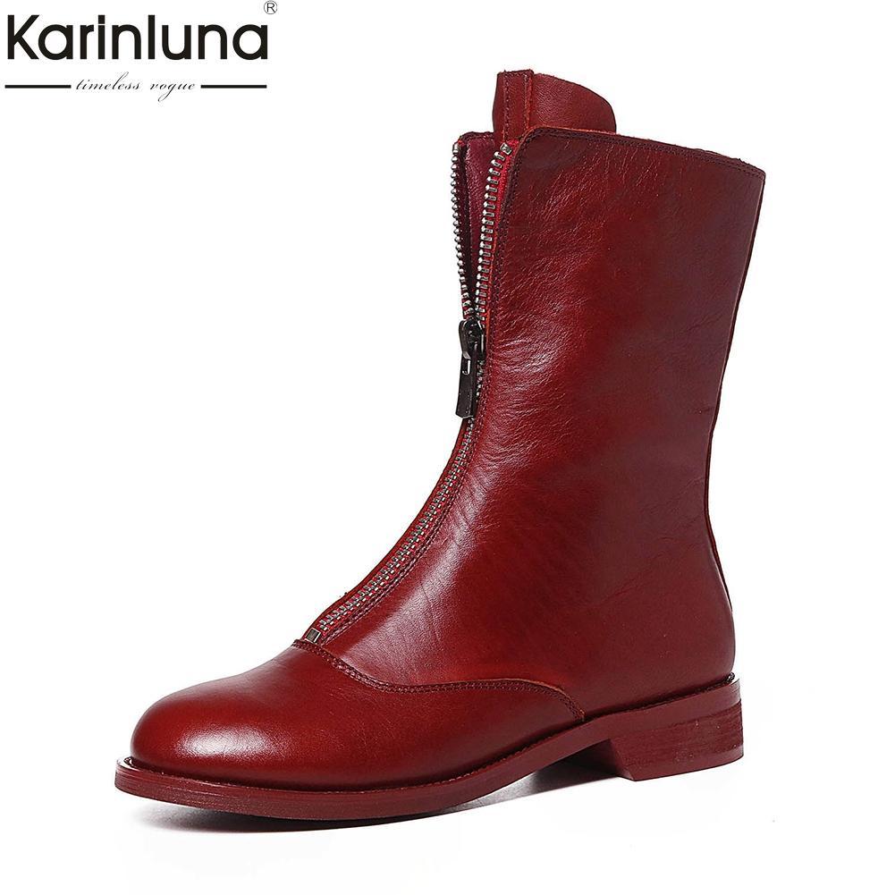 864f8d32bb05 Großhandel Karinluna 2018 Echtes Leder Vorne Zip Ankle Boots Heißer Verkauf  Kuh Leder Stiefel Schuhe Frau Mode Trendigen Stil Frau Schuhe Von Makiyou,  ...