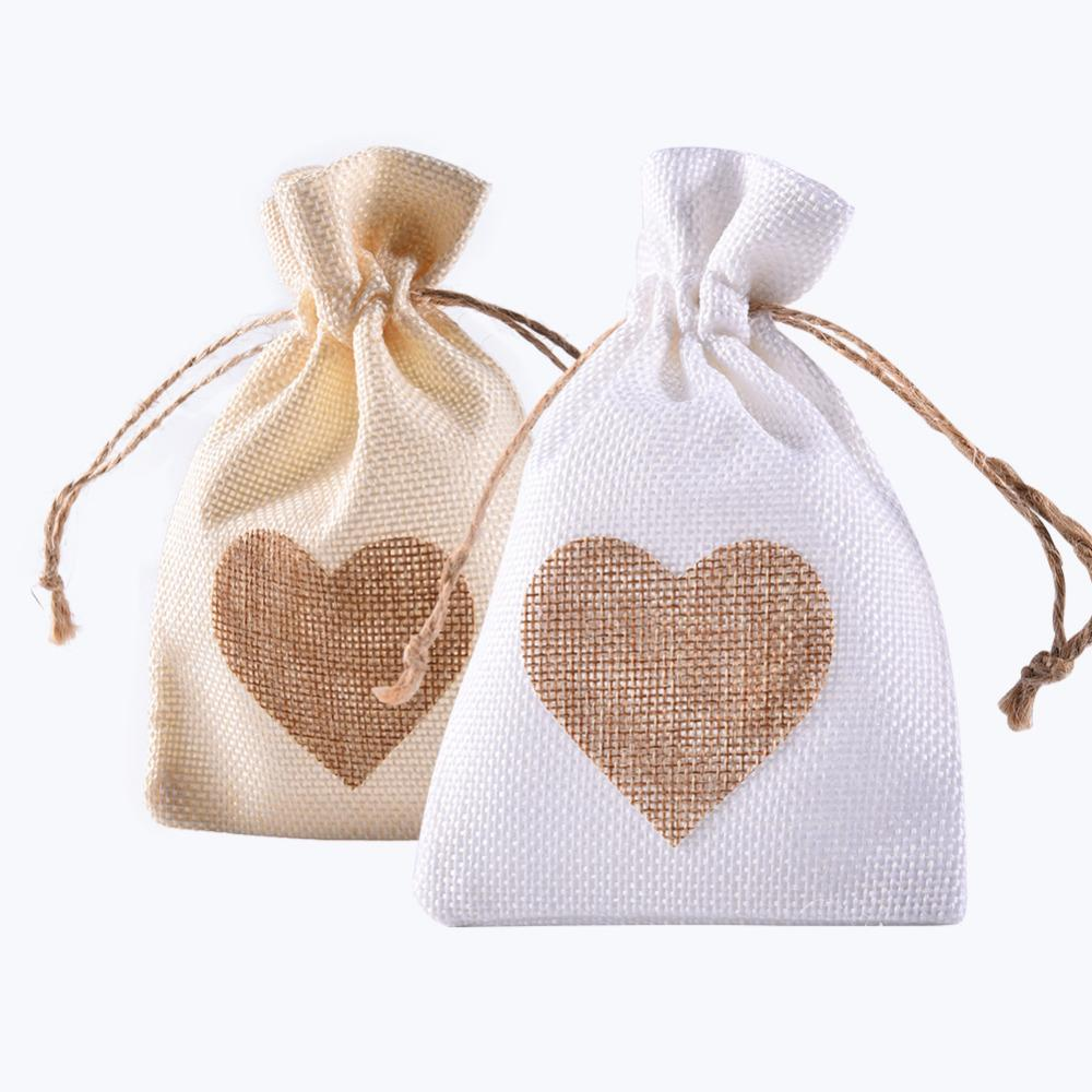 Heart Shaped Favor Bag Trendy White Linen Drawstring Wedding Gifts ...
