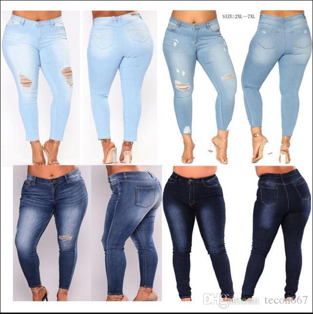 2cdf6436f0a16 2019 12 Style PLUS SIZE Jeans Women High Waist Skinny Pencil Blue Denim  Pants Women Stretch Washed Jeans Women 3XL 4XL 5XL 6XL 7XL Big Hip From  Tecon667
