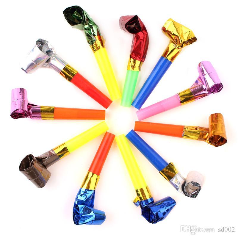 Silbatos divertidos para niños Colorido Niños Fiesta de cumpleaños Generador de ruido Apoyos de alegría Creativo Soplado Dragón Blowout Juguetes Regalos 0 06oy AA