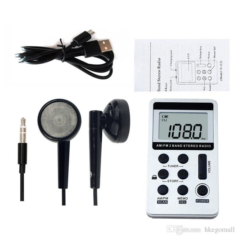 Nuovo ricevitore portatile portatile della radio portatile FM / AM con batteria ricaricabile Auricolare radio registratore + cordino