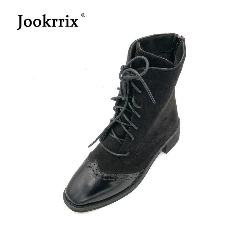 nombreux dans la variété meilleure collection outlet à vendre Jookrrix 2018 Casual Chaussures Femmes Marque De Mode Martin Bottes Lady  chaussure Automne footware Cross-liée Brogue Chaussures Noir