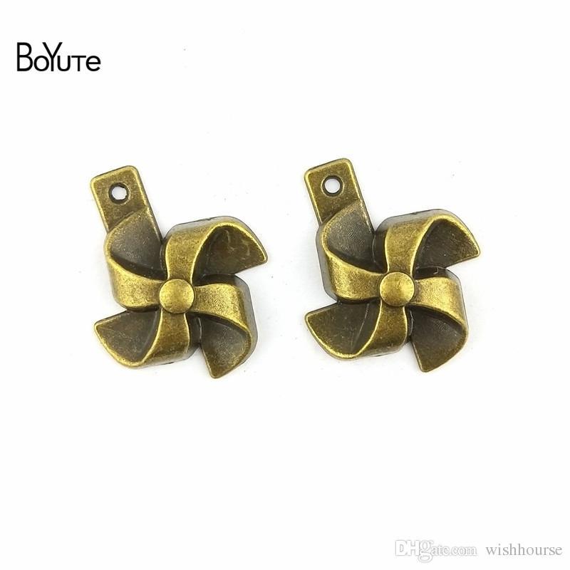 BoYuTe  21*26MM Antique Bronze Plated Zinc Alloy Windmill Vintage Charms Pendant Diy Fashion Bracelets Jewelry Accessories