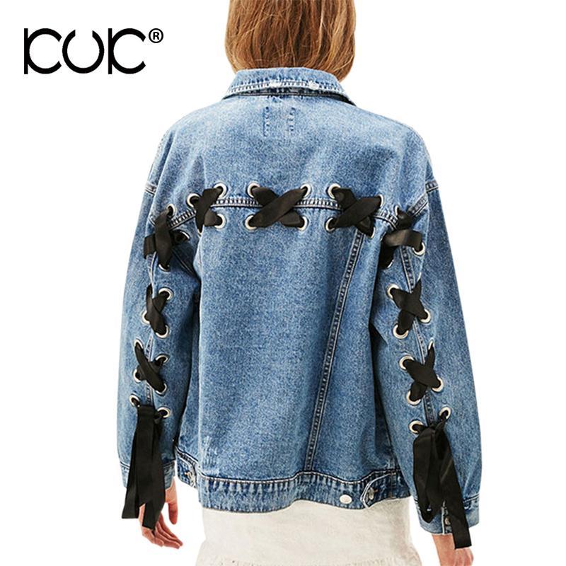 new style 7c213 9cd0d All ingrosso-Giacca jeans Kuk Donna Giacca oversize in denim Tasca  stringata donna Capispalla basic Cappotti autunno inverno Casaco Feminino  A558
