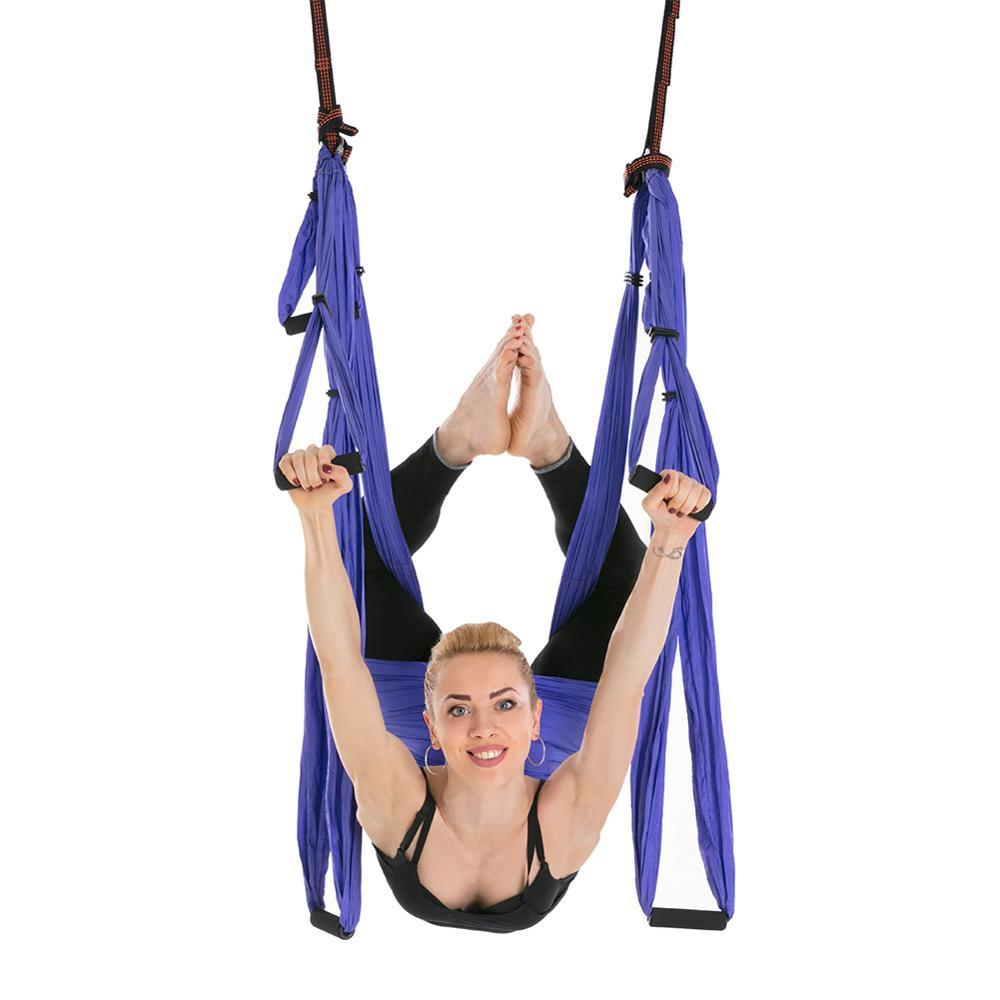 6 Handles Anti-Gravity Aerial Traction Device Yoga Hammock Strap Pilates Home Gym Hanging Belt Swing Trapeze 2.5*1.5m