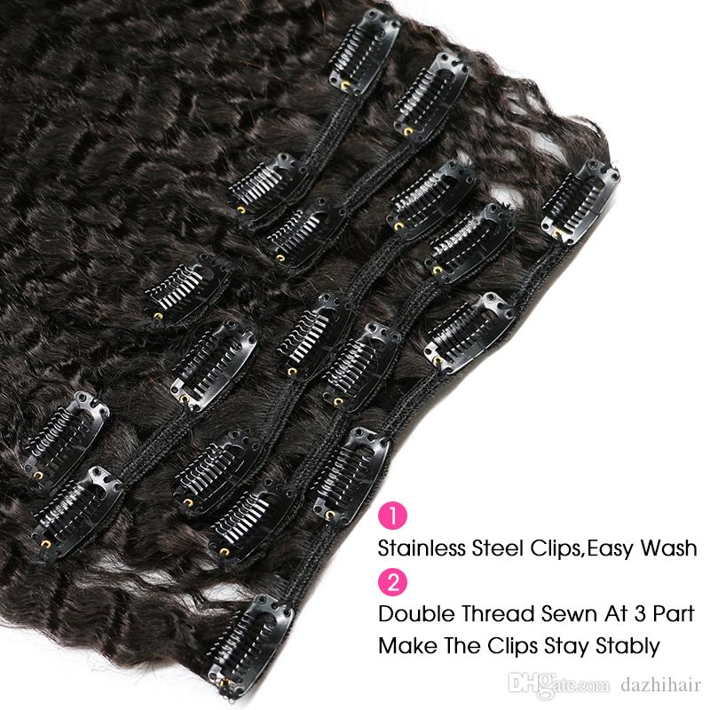 Coarse Yaki Kinky Straight Clip In Hair Extensions 100% Brazilian Human Remy Hair 120gNatural Color
