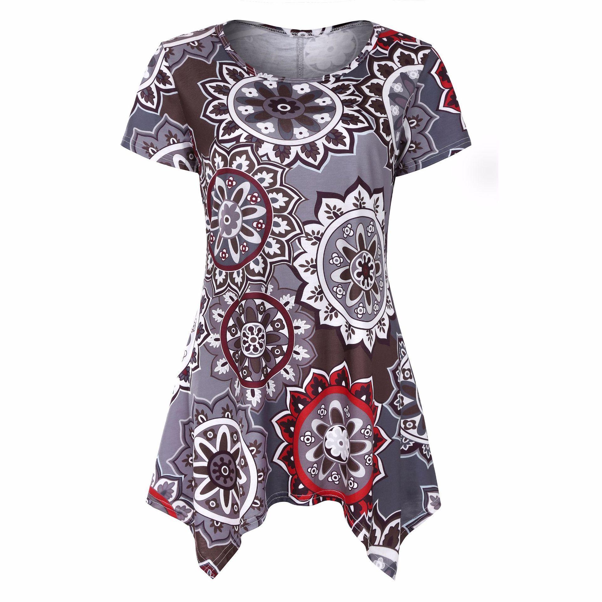 floral asymmetrical dress printed shorts sleeve women pullover Bohemia style summer dress shirt flower pattern O-neck T-shirts