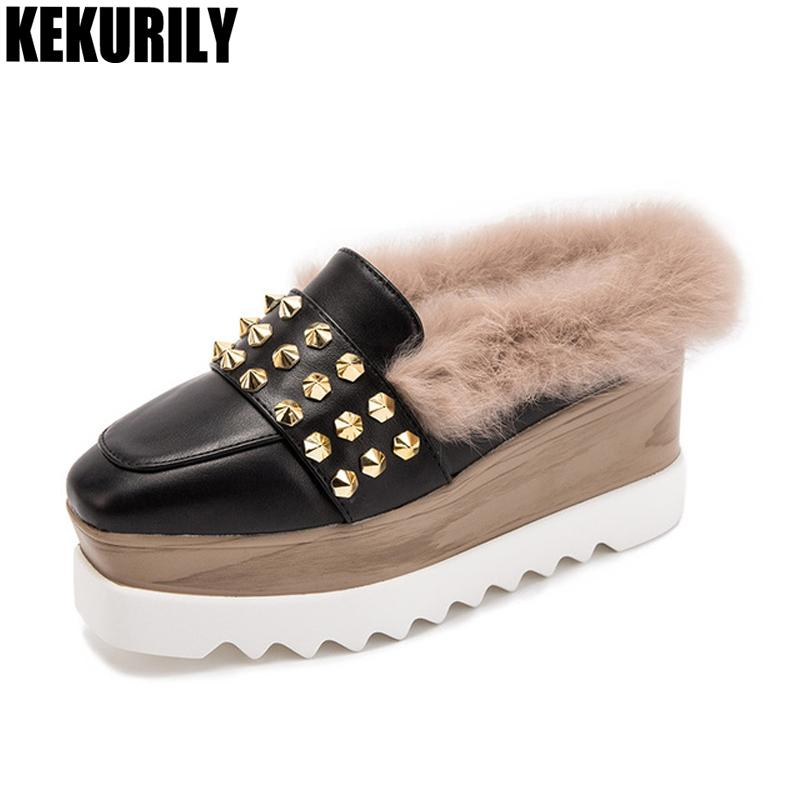Shoes Women Rabbit Fur Wedges Mules Slip On Sandals Rivet Slides