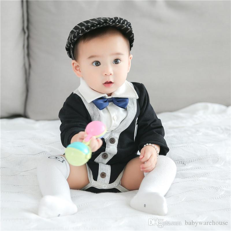 c85c89df4511 2019 2018 Newborn Baby Clothes Infant Boy Rompers Cotton Gentleman Suit  Romper With Bow Tie Leisure Boys Clothing Infant Jumpsuit Boys Clothes From  ...